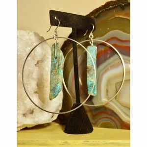 Turquoise large silver hoops